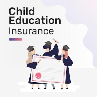 Modelo de postagem em mídia social para seguro de educação infantil