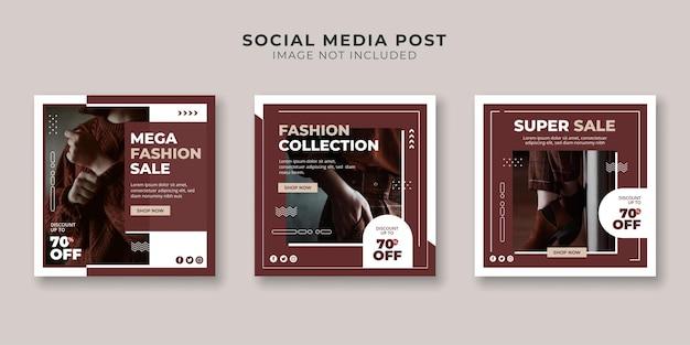 Modelo de postagem em mídia social para venda de coleção de moda