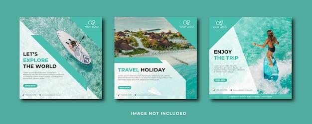 Modelo de postagem em mídia social para viagens, férias, férias