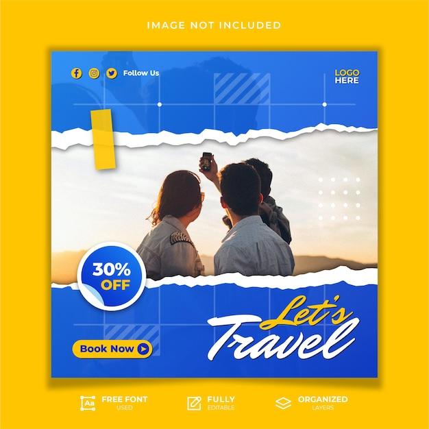 Modelo de postagem em mídia social para viagens