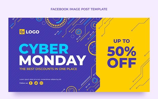 Modelo de postagem em mídia social plana cibernética de segunda-feira