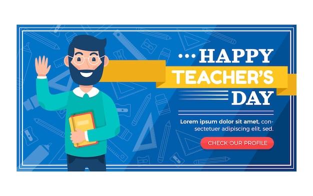 Modelo de postagem em mídia social plana para o dia dos professores