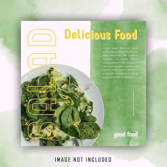 Modelo de postagem em mídia social verde elegante salada aquarela comida saudável