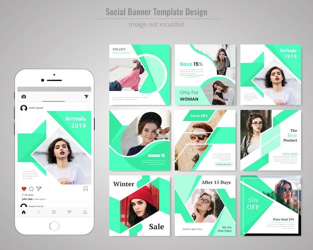 Modelo de postagem - fashin social media Vetor Premium