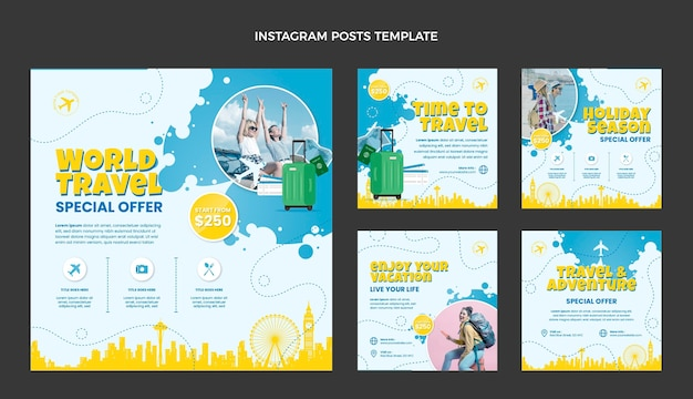 Modelo de postagem instagram de viagens de design plano