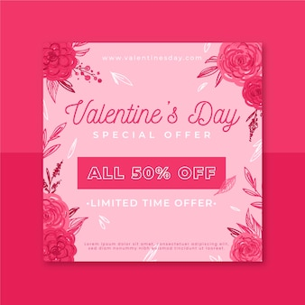 Modelo de postagem instagram floral para o dia dos namorados