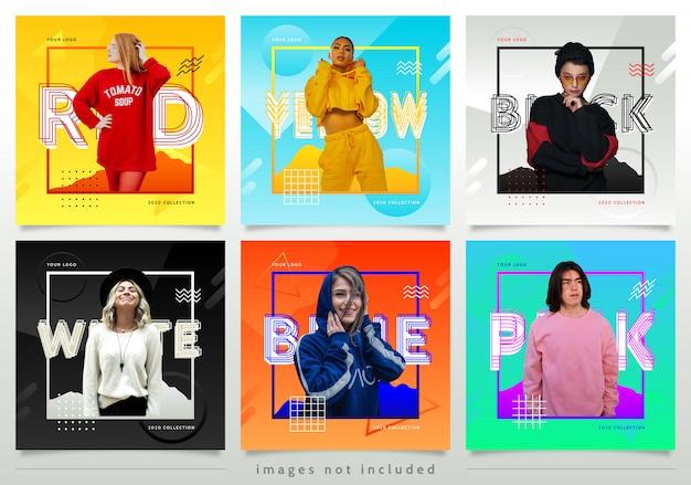 Modelo de postagem - mídia colorida estilo moda social