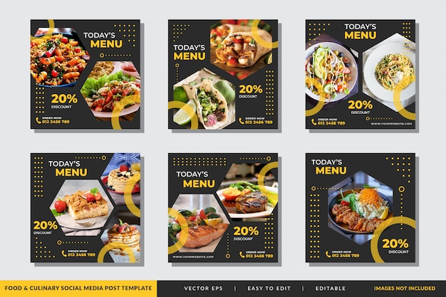 Modelo de postagem - mídia social alimentar e culinária