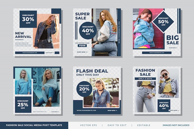 Modelo de postagem - mídia social de venda de moda