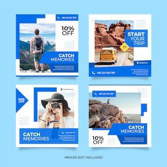 Modelo de postagem - mídia social de viagem de viagem