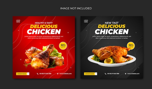 Modelo de postagem nas mídias sociais do delicious chicken