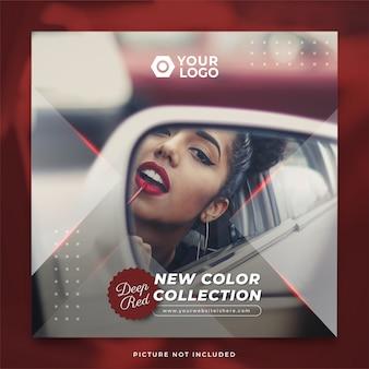 Modelo de postagem no instagram da coleção de novas cores para batom vermelho profundo