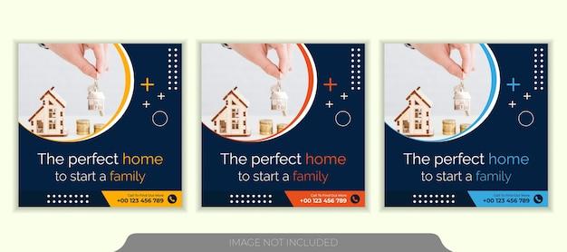 Modelo de postagem no instagram de mídia social imobiliária