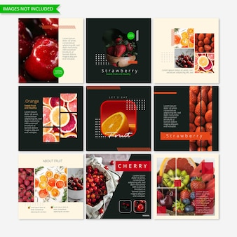 Modelo de postagem no instagram para marketing comercial fruta mídia social