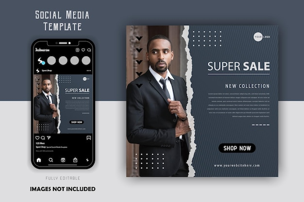 Modelo de postagem no instagram simples minimalista elegante luxo cinza moda masculina mídia social