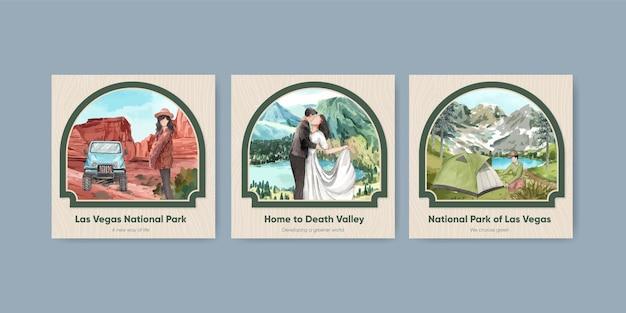 Modelo de postagem quadrada com parques nacionais dos estados unidos conceito, estilo aquarela