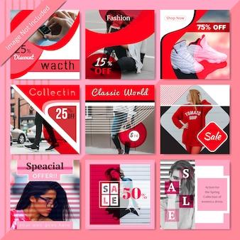 Modelo de postagem - vermelho moda social media