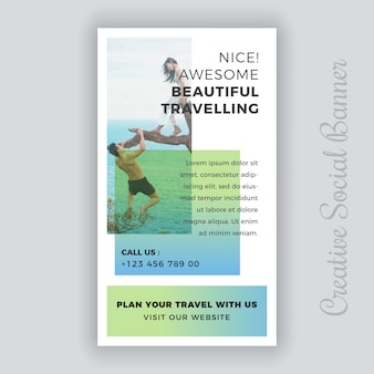 Modelo de postagem - viaje de mídia social