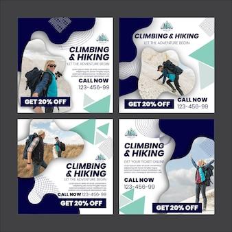 Modelo de postagens de escalada e caminhada no instagram