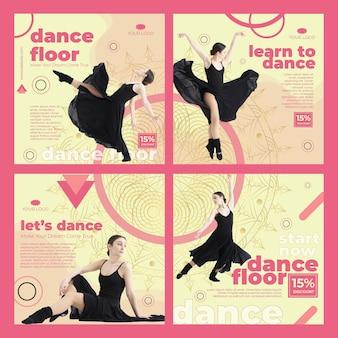 Modelo de postagens de instagram de aula de dança com foto