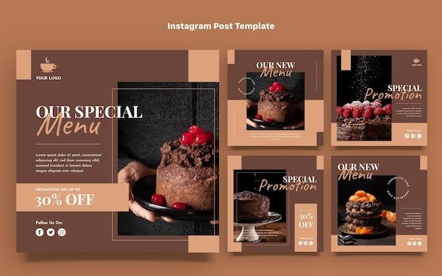 Modelo de postagens de instagram de comida de design plano