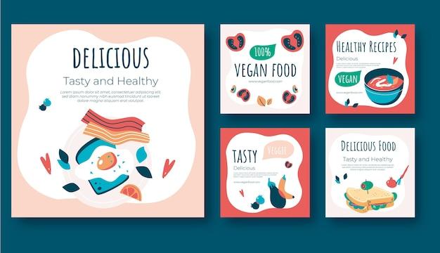 Modelo de postagens de instagram de comida vegana de design plano