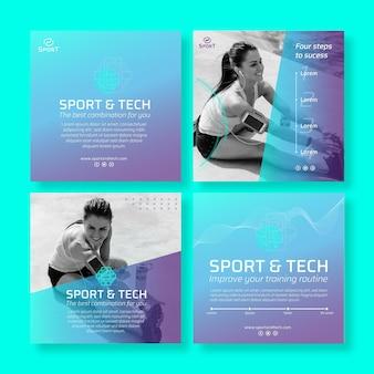 Modelo de postagens de instagram de esporte e tecnologia