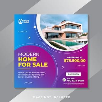 Modelo de postagens de instagram de imobiliárias Vetor Premium
