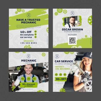 Modelo de postagens de instagram de mecânico e de serviço