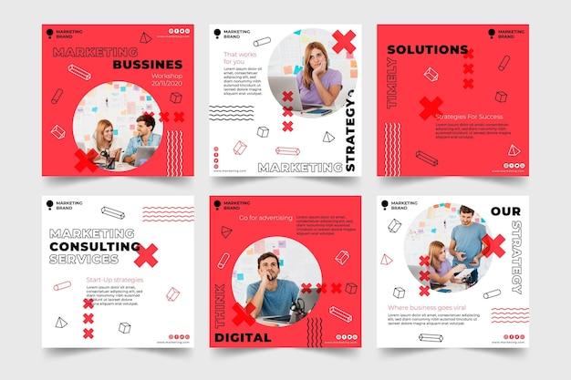 Modelo de postagens de instagram de negócios de marketing
