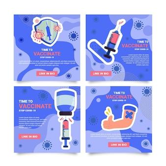 Modelo de postagens de instagram de vacina de design plano