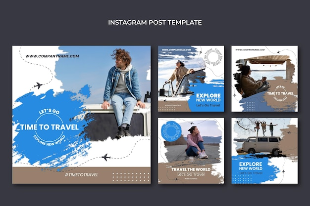Modelo de postagens de instagram de viagens de design plano
