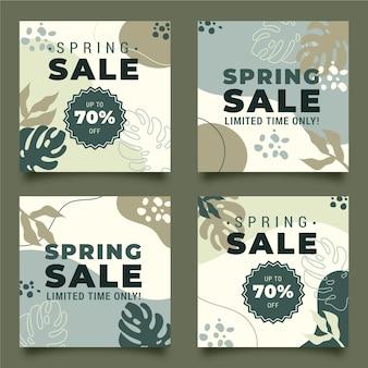 Modelo de postagens de mídia social de venda de primavera
