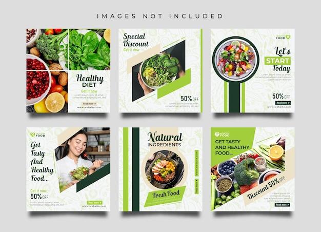 Modelo de postagens de mídia social e instagram de restaurante de comida saudável