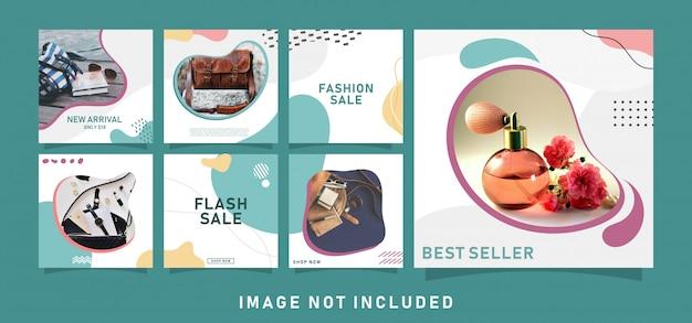 Modelo de postagens de mídia social para vendas de moda de meninas
