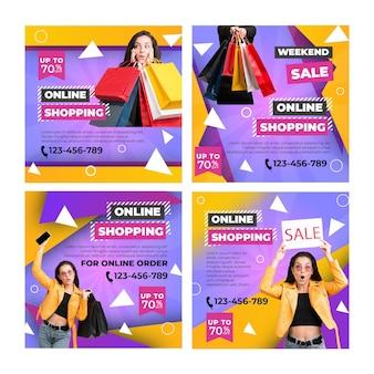 Modelo de postagens do instagram de compras online