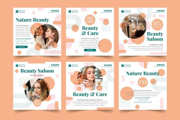 Modelo de postagens do instagram de salão de beleza