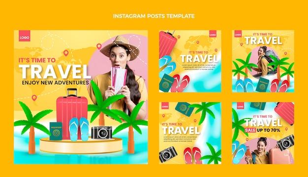 Modelo de postagens do instagram de viagens realistas