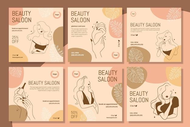 Modelo de postagens do instagram para salão de beleza