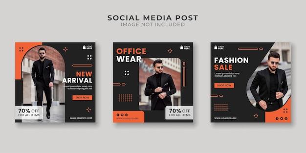 Modelo de postagens em mídias sociais e instagram para roupas de escritório