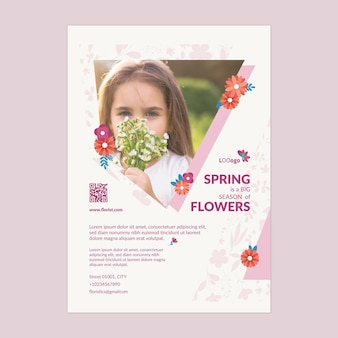 Modelo de pôster a4 de festa de primavera design plano