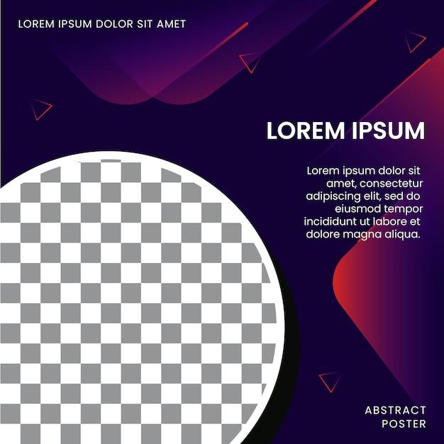 Modelo de pôster abstrato para promoção com espaço de imagem