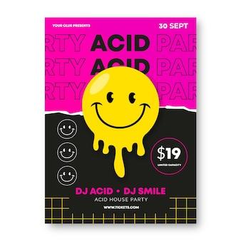 Modelo de pôster ácido emoji