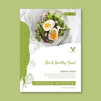 Modelo de pôster bio e comida saudável
