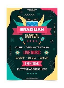 Modelo de pôster carnaval brasileiro