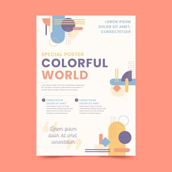 Modelo de pôster colorido do mundo