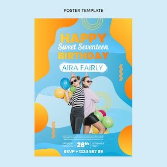 Modelo de pôster colorido gradiente de aniversário