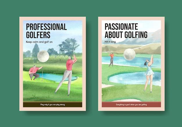 Modelo de pôster com amante de golfe em estilo aquarela