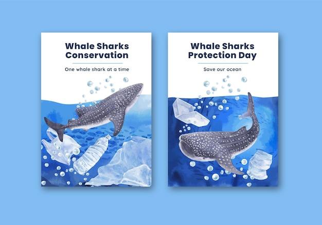 Modelo de pôster com conceito de dia internacional do tubarão-baleia