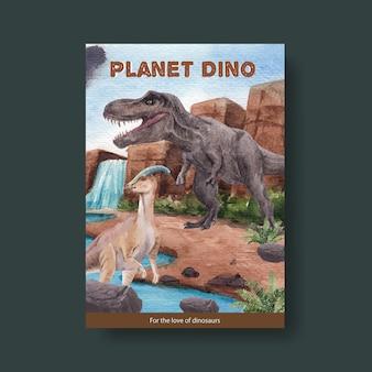 Modelo de pôster com conceito de dinossauro, estilo aquarela